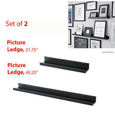 "IKEA Picture Ledges Set of 2 - 22"" & 45"" Black Ribba Shelves Book Spice Rack"