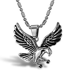 EAGLE SILVER SP LINK CHAIN SURGICAL STAINLESS STEEL PENDANT WITH NECKLACE