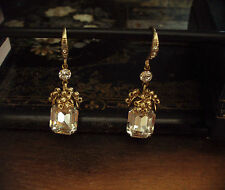 Vintage Emerald Cut Crystal & Seed Beads Drop Earrings. Miriam Haskell Style