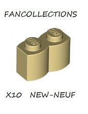 Lego - 10X  Tan Brick, Modified 1 x 2 Log , 30136  NEUF