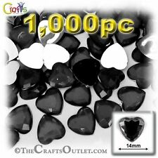 The Crafts Outlet 1000-Piece Flat Back Heart Rhinestones10mm Jet Blak - AMbx12-2