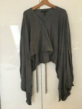 BCBG Maxazria Cotton Modal Grey Poncho Jumper Cardigan S Small