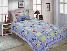 Twin Size Kids Race Car Design Embroidered Quilt 2 PCS Set Blue # 510-26