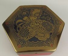 Artstyle Chocolate Co Candy Tin Hexagon Red Black Gold Footed Vintage