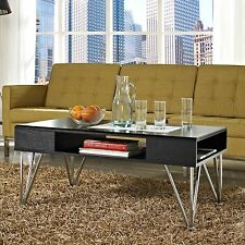 Modern Wood Coffee End Table Furniture Contemporary Storage Living Room Tables