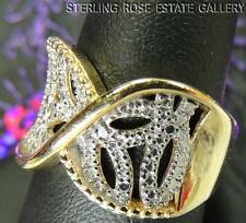 DIAMOND VERMEIL and STERLING SILVER 0.925 ESTATE wide WEDDING BAND RING size 7
