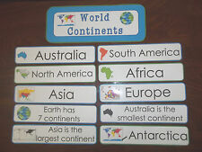 World Continents themed Weekly Word Word Wall Signs.  Daycare business supplies.
