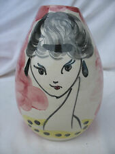 VASE 50s-60s ALLA MODA ITALY HANDPAINTED YOUNG LADY PORTRAIT JUST SWEET