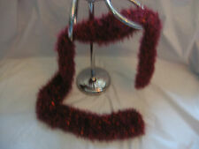Handmade Knit Scarf - Cranberry with Orange Accents