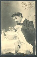 QA191  EPICES L'HUILE SPICES OIL EDWARDIAN MAN WHISKERS PHOTO pc BERGERET 1904