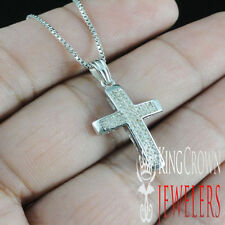 LADIES NEW WHITE GOLD FINISH OVER STERLING SILVER GENUINE DIAMOND CROSS NECKLACE