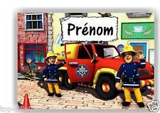 Plaque de porte en ( sur ) bois  Sam le pompier avec prénom   N° 116