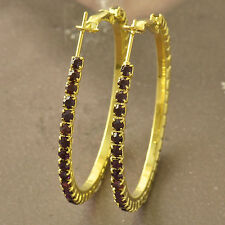 Around Purple Cubic Zirconia 9K Yellow Gold Filled Womens HOOP EARRINGS F5150