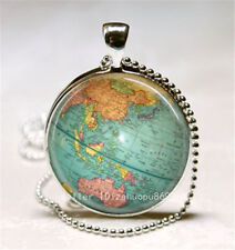 Vintage world map Cabochon Silver plated Glass Ball Chain Pendant Necklace,h9