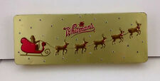 "2004 Whitman's Chocolates 12"" Tin w Hinged Lid Christmas Santa Sleigh & Reindeer"