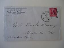 1899 George H Mass Florist and Seedsman Woodstock Vermont Cover Envelope
