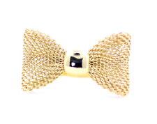 Bonito ajustable color oro malla anillo de arco