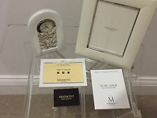 Authentic Mikimoto Quartz Pearl 24 Hour Display Desk Clock and Photo Frame Set
