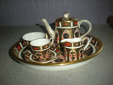 ROYAL CROWN DERBY OLD IMARI DESIGN MINIATURE TEA SERVICE  1128,CABINET SET.