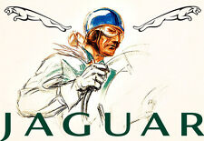 Art Ad Jaguar Driver Automobile Car Race Racer  Deco Auto  Poster Print