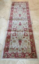 RALPH LAUREN 8.5'X 2.3' Runner Ivory Red Cross Weave Oushak Rug Made In Turkey