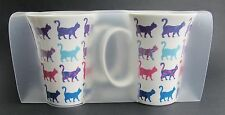 Cat Mug - Set of 2 Bone China Clear Plastic Carry Pack - Bright & Colourful