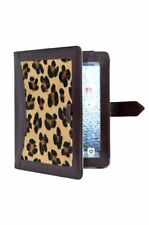 Ipad 2 3 & 4 Leopard Skin Fur Luxury Real Genuine Leather Cover Case Stand Pouch