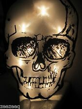 Halloween Skull Window Shimmering Light Up Sign