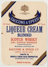 SACCONE & SPEED LIQUEUR CREAM BLENDED SCOTCH WHISKY: Whisky label (C19413).