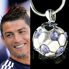 w Swarovski Crystal 3D Lavender Football Soccer Ball Necklace Jewelry Unisex New