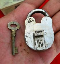1930'S OLD RAREH ALIGARH 10 LEVERS BRASS MINI PAD LOCK