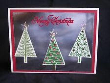 Handmade Christmas Card Silver & Red Christmas Trees Using Stampin Up Multi Leve