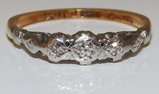 FINE VINTAGE 18CT YELLOW GOLD PLATINUM DIAMOND ENGAGEMENT 3 STONE RING SIZE P