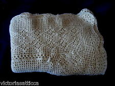 "Vintage Beige Hand Crocheted Lace 42"" x 60"" Oblong / Rectangular Tablecloth"