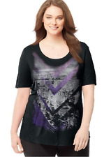 Just My Size Fluid Rayon Blend S/S  Top 5X Black Glitzy Nightlife Graphic