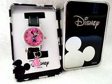 Minnie Mouse Disney Watch Pink Dial Heart Charm Black Band Metal Gift Box
