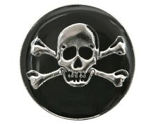 6 Skull & Crossbones 3/4 inch ( 20 mm ) Dill Metal Buttons Silver & Black Color