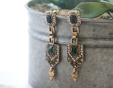Hot Trend Fashion Jewelry Antique Vintage Statement Green Crystal Drop Earring