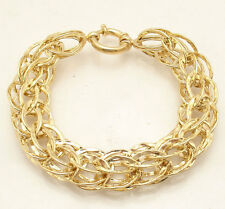 "7.5"" Technibond Hammered Oval Link Bracelet 14K Yellow Gold Clad 925 Silver"
