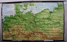 Schulwandkarte Wandkarte Schulkarte Rollkarte Alte Karte Norddeutschland 269x166