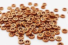 Mini Coffee Brown Wooden Button Children Baby Tiny Small Shirt Blouse 10mm 20pcs
