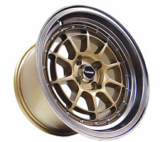 15X8.5 MATTE BROZE VMS RACING RAPTOR RIMS WHEELS 4X100 ET17 HELLAFLUSH STANCE