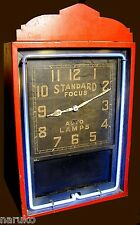 DECO NEON AD CLOCK ORIG NEON COLOR & FACE FOCUS AUTO LAMPS A RARE CLOCK