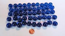 "50 BLUE Round Clear Glass 3/4"" MARBLES Crafts Games Art Floral Bridal Projects"