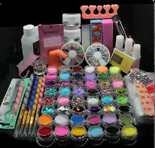 Acrylic  Nail Art Tips Brush lacquer Glitter Powder dust Buffer Tool Set Kit