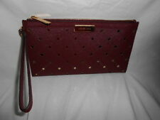 MICHAEL KORS JAMEY LARGE ZIP CLUTCH  6+ IPHONE WRISTLET MERLOT LEATHER HANDBAG