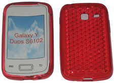 For Samsung Galaxy Young Y Duos GT S6102 Pattern Gel Case Protector Cover Red UK