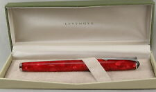 Levenger True Writer Red Marble & Chrome Fountain Pen - Broad Nib - New