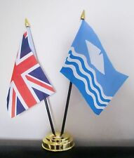 UNION JACK AND ISLE OF WIGHT WAVES TABLE FLAG SET 2 flags plus GOLDEN BASE