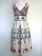 Madison Leigh Colonial French Style Toile Fleur-de-lis Black White Dress Sz 8 Md